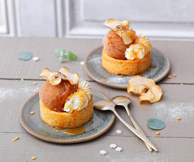 sorbet pomme cidre sable breton sirop au miel et creme chantilly