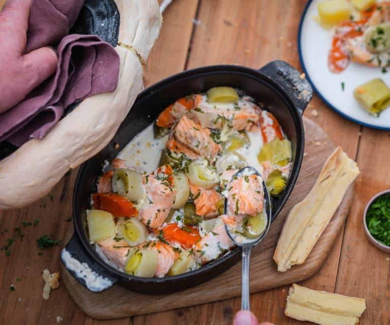 cocotte de saumon aux petits legumes