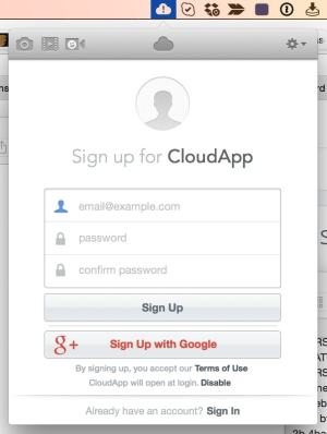 Sign Up on CloudApp from UIGarage