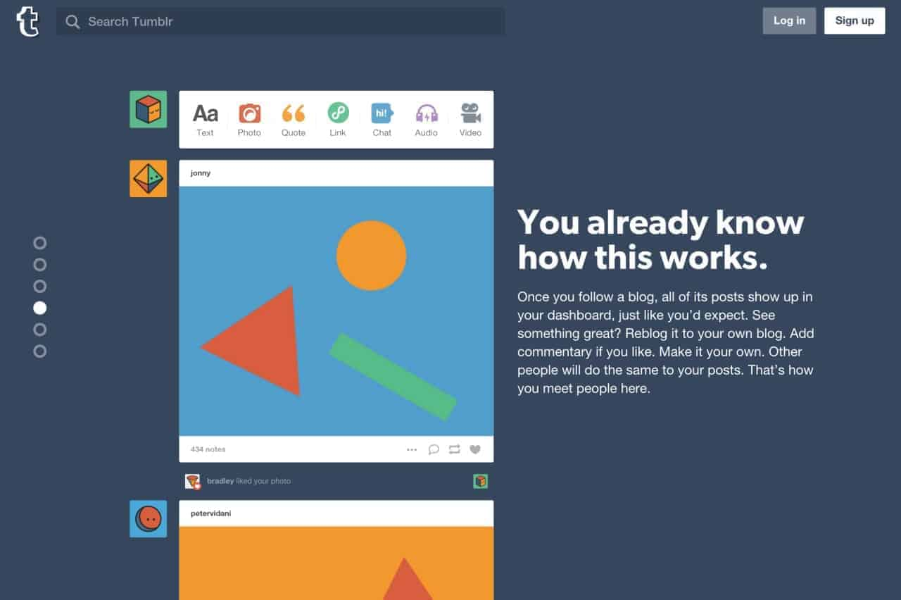 Landing page by Tumblr from UIGarage