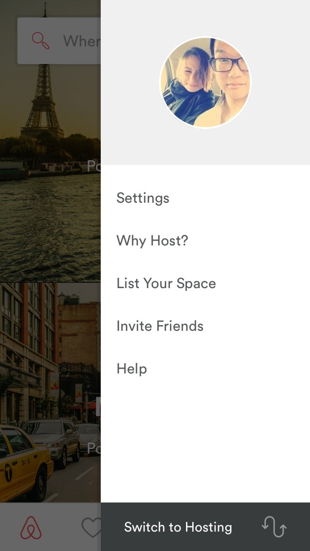 Menu Sidebar on iOS by Airbnb from UIGarage