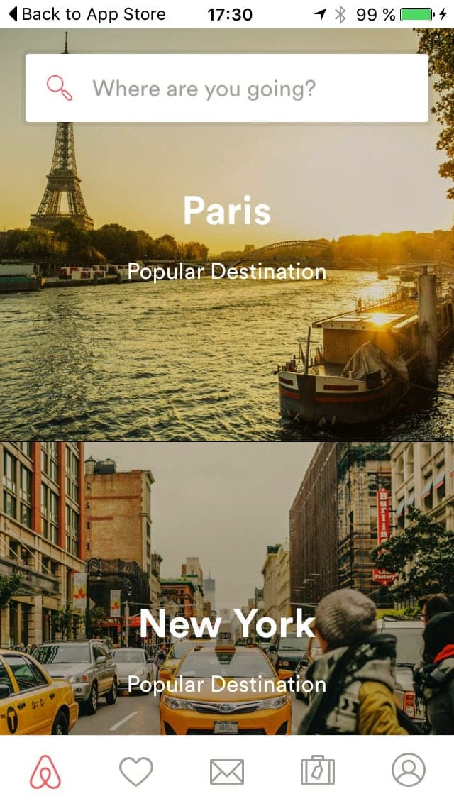 Home page on iOS by Airbnb from UIGarage