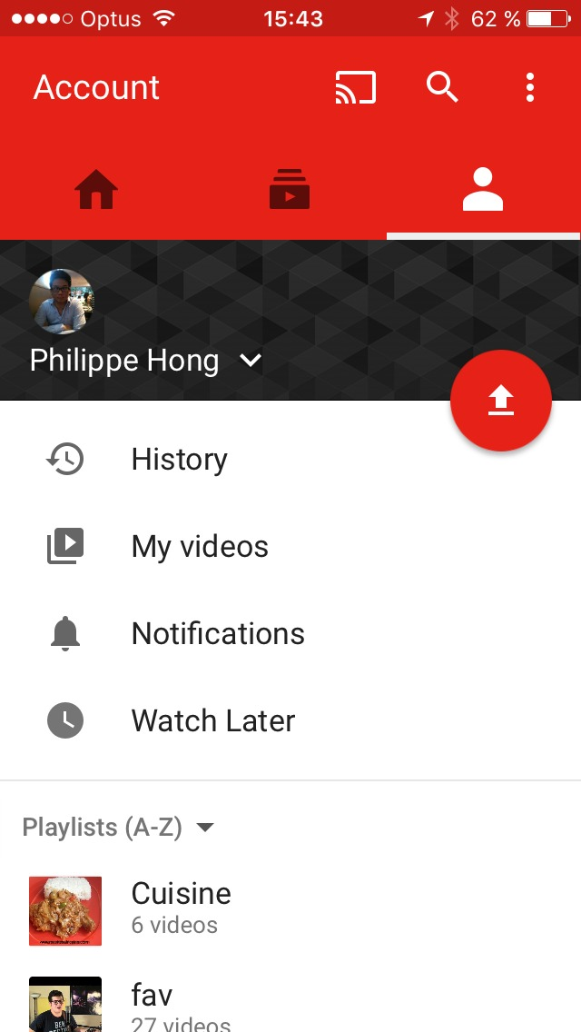 Profile screen on iOS by Youtube from UIGarage