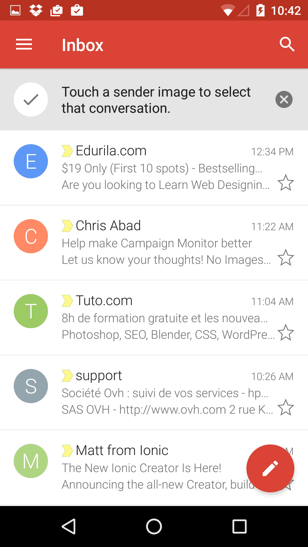 Tutorial screen on Android by Gmail from UIGarage