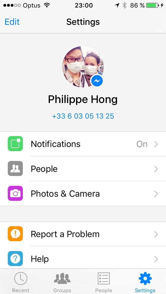 Settings screen on iOS by Messenger from UIGarage