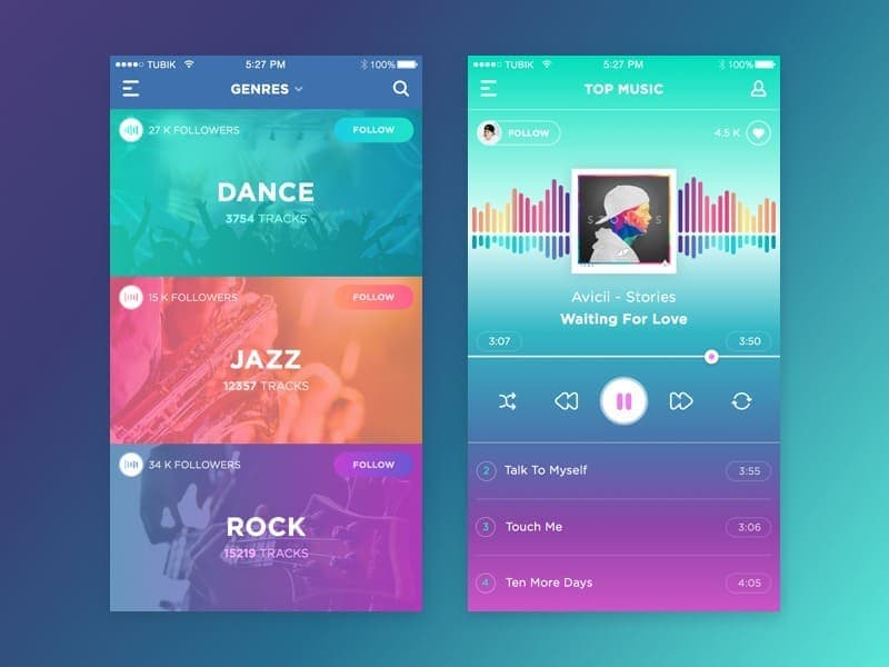 Music player on iOS by Dribble from UIGarage