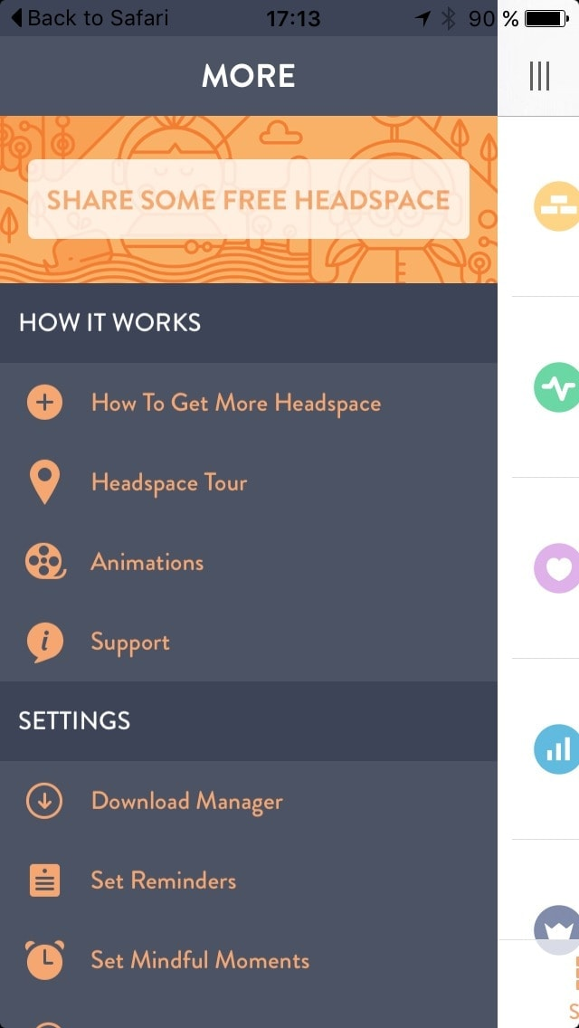 Menu on iOS by Get Headspace from UIGarage