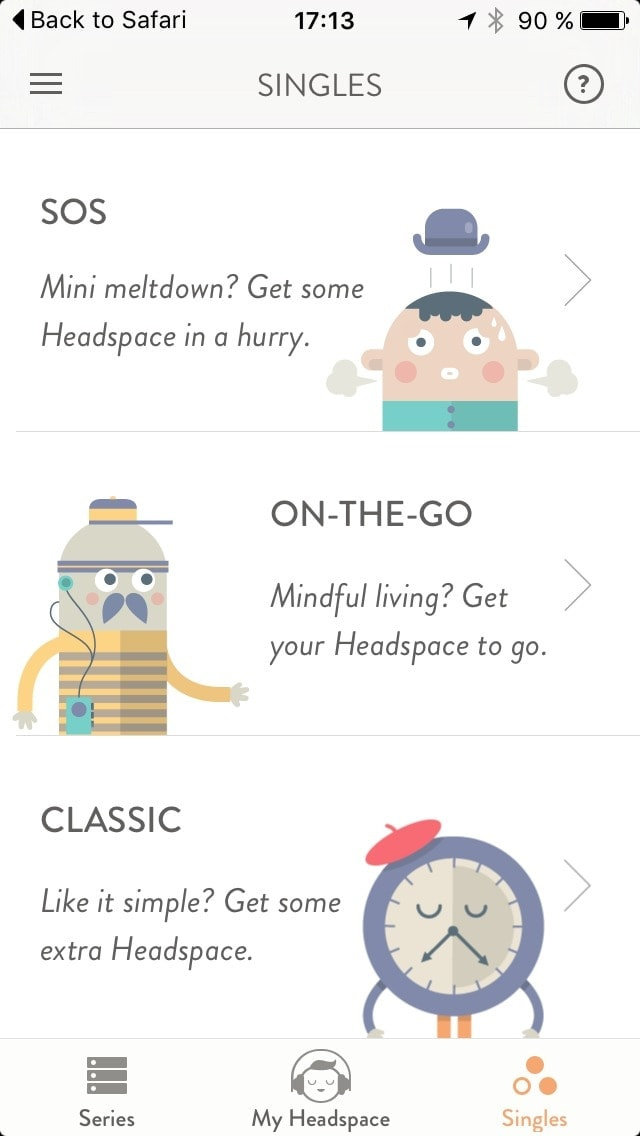 Content view on iOS by Get Headspace from UIGarage