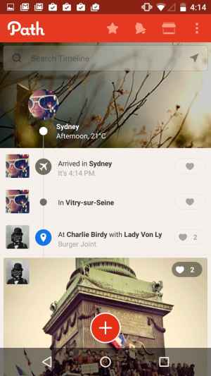 Timeline screen on Android by Path from UIGarage