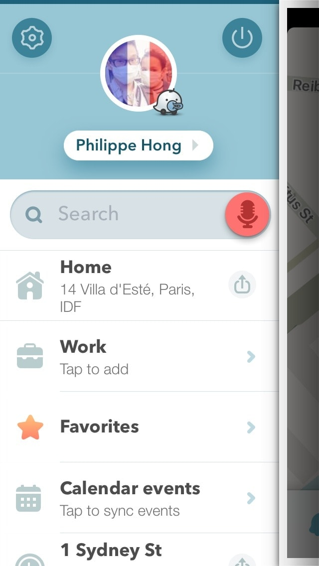 Menu screen on iOS by Waze from UIGarage