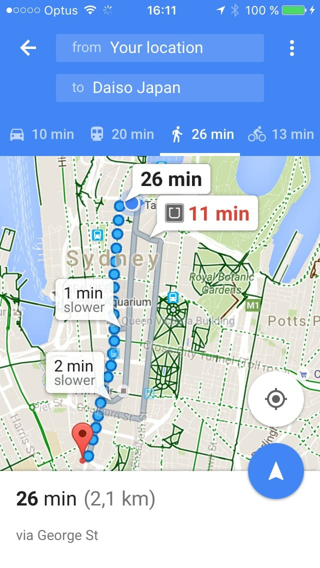 Maps travel screen on iOS by Google Maps from UIGarage