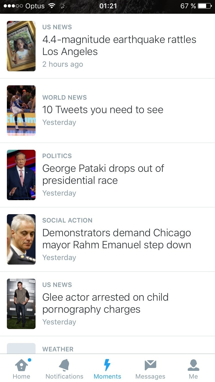 Moments Tweets page on iOS by Twitter from UIGarage