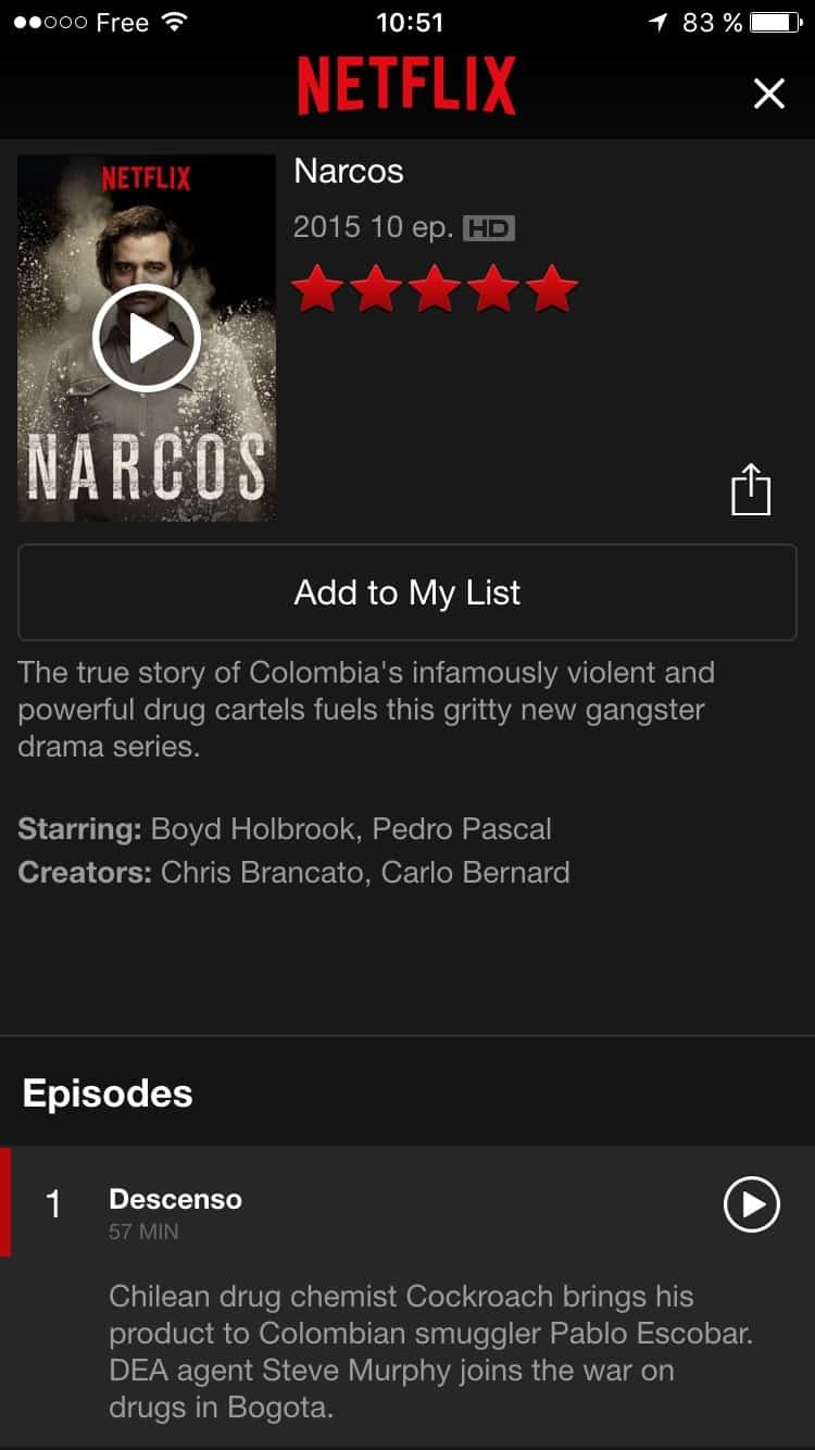 Content screen on iOS by Netflix from UIGarage