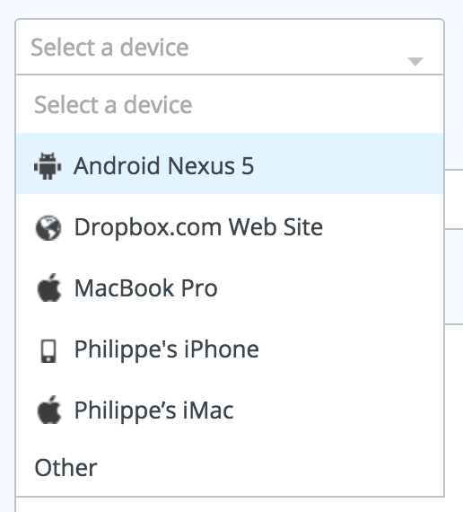Dropdown with icon by Dropbox from UIGarage