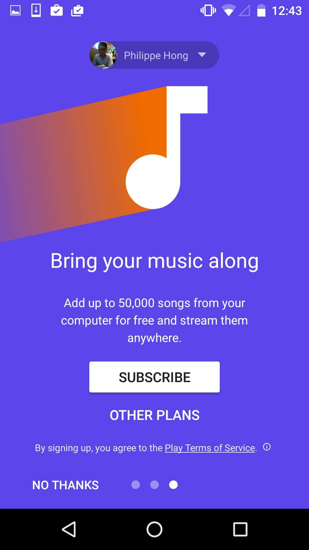Onboarding by Google Music from UIGarage