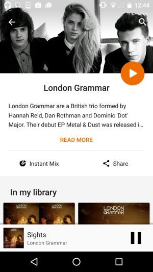 Artiste page on Google Music from UIGarage