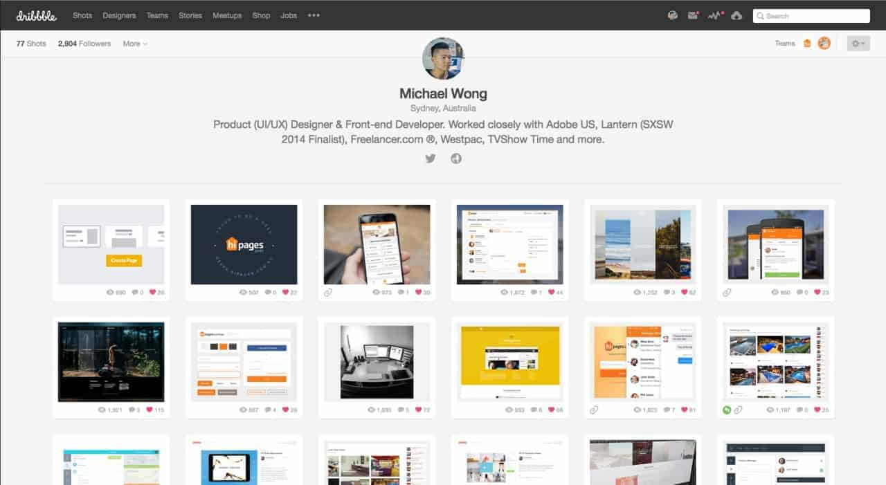 Profile Page by Dribbble from UIGarage