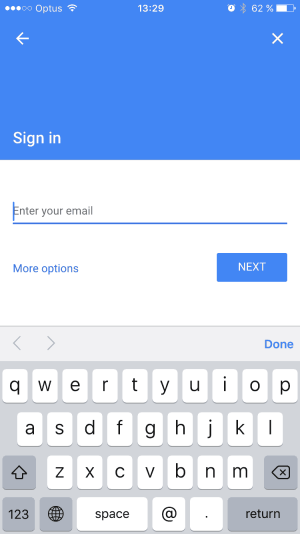 Sign in / Add account on iOS by Google from UIGarage