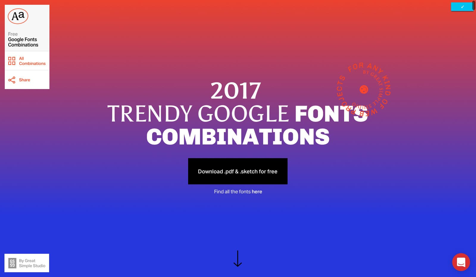 Landing Page by Google Fonts Combinations from UIGarage