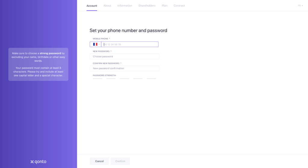 Set password Sign up Page by Qonto from UIGarage