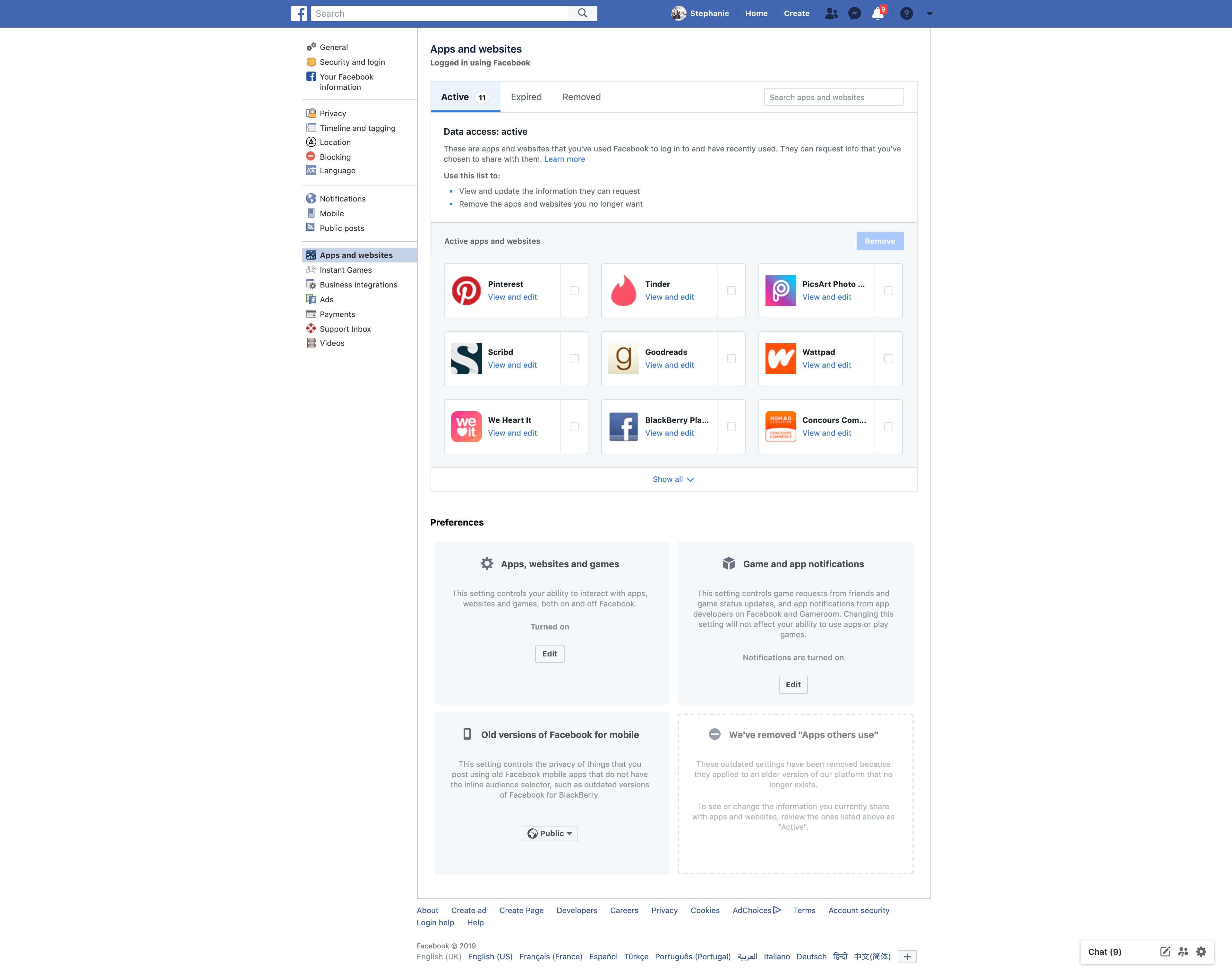 Apps and Websites Settings by Facebook from UIGarage