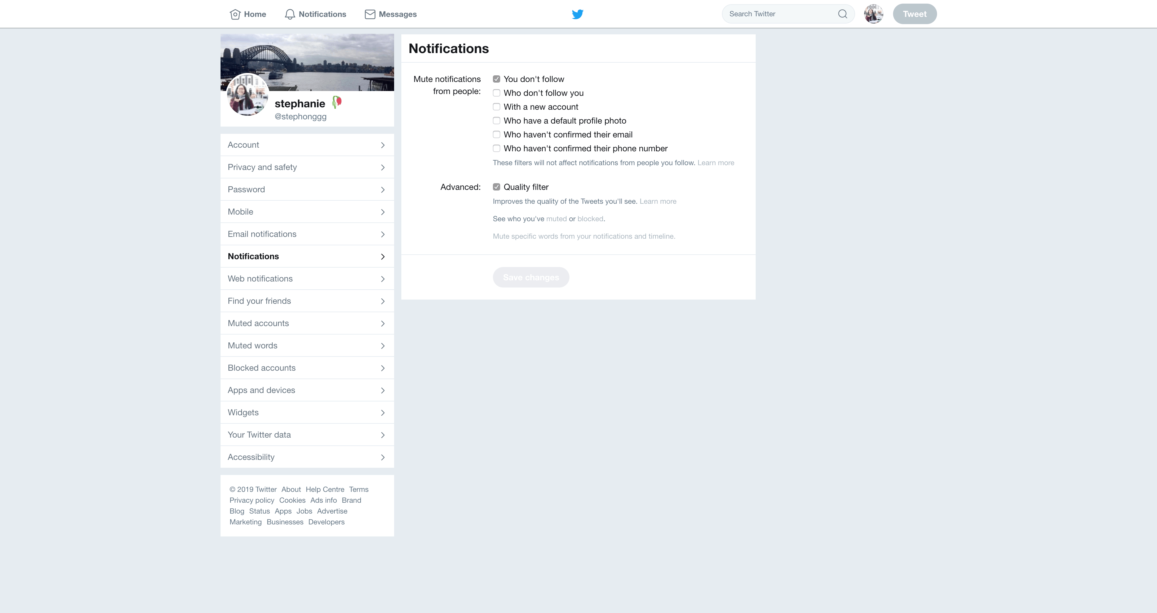 Notifications Settings by Twitter from UIGarage