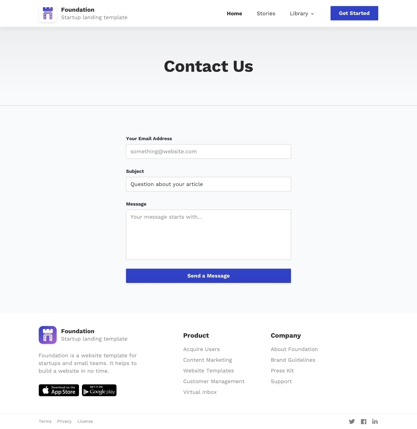 Foundation - Free Landing Page Design from UIGarage