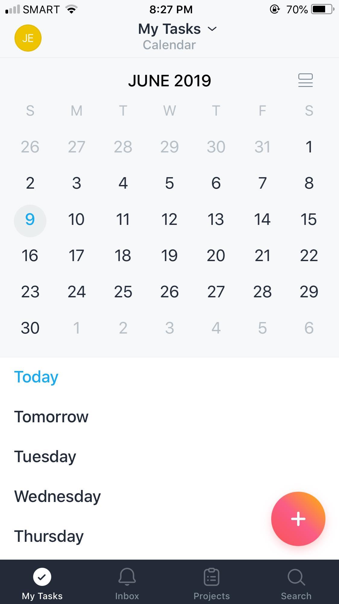 Calendar on iOS by Asana from UIGarage