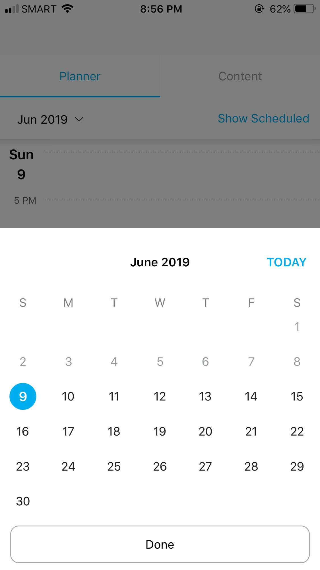 Calendar on iOS by Hootsuite from UIGarage