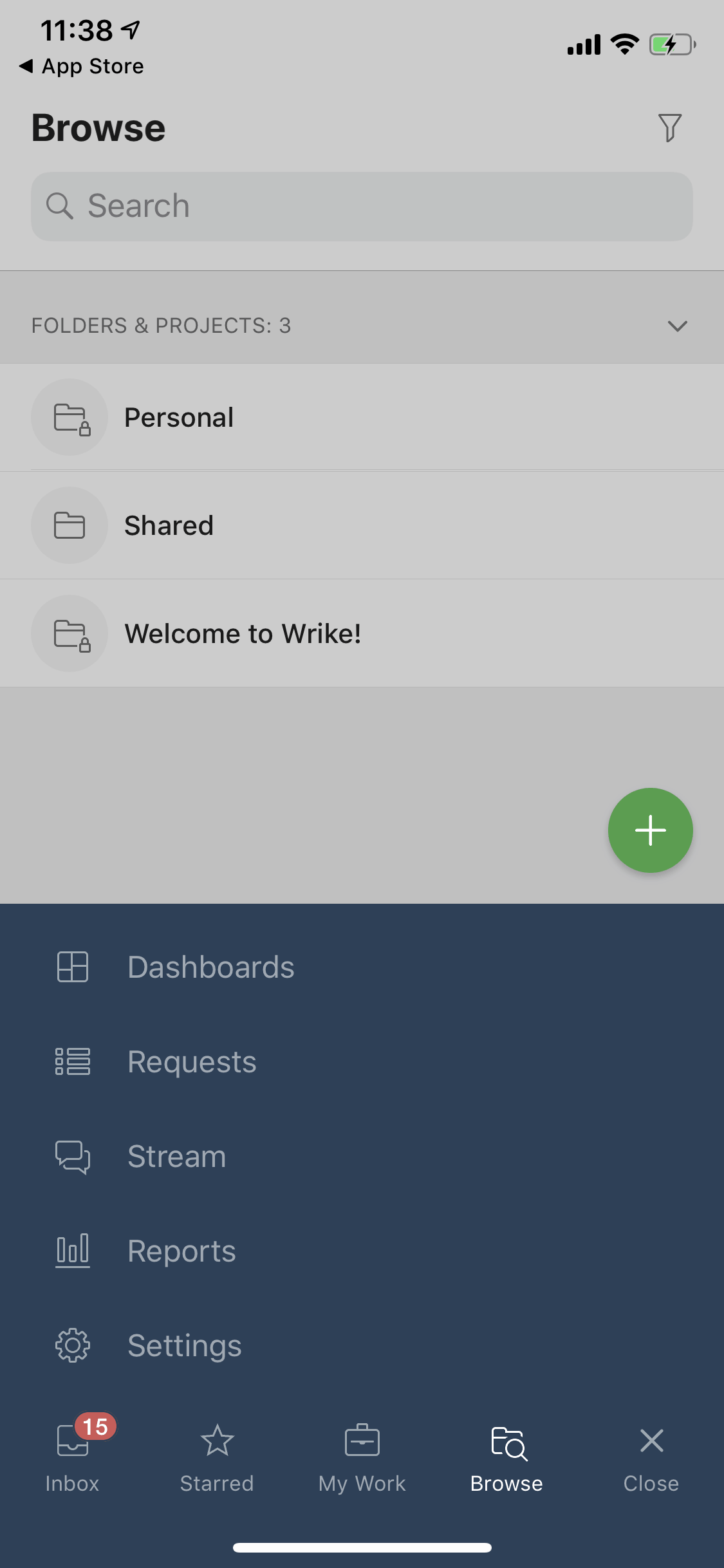 Menu on iOS by Wrike from UIGarage