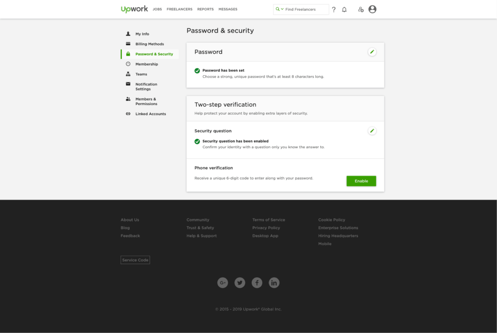 Password and Security by Upwork from UIGarage
