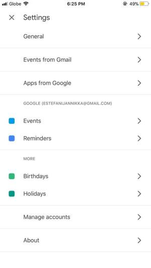 Settings on iOS by Google Calendar from UIGarage