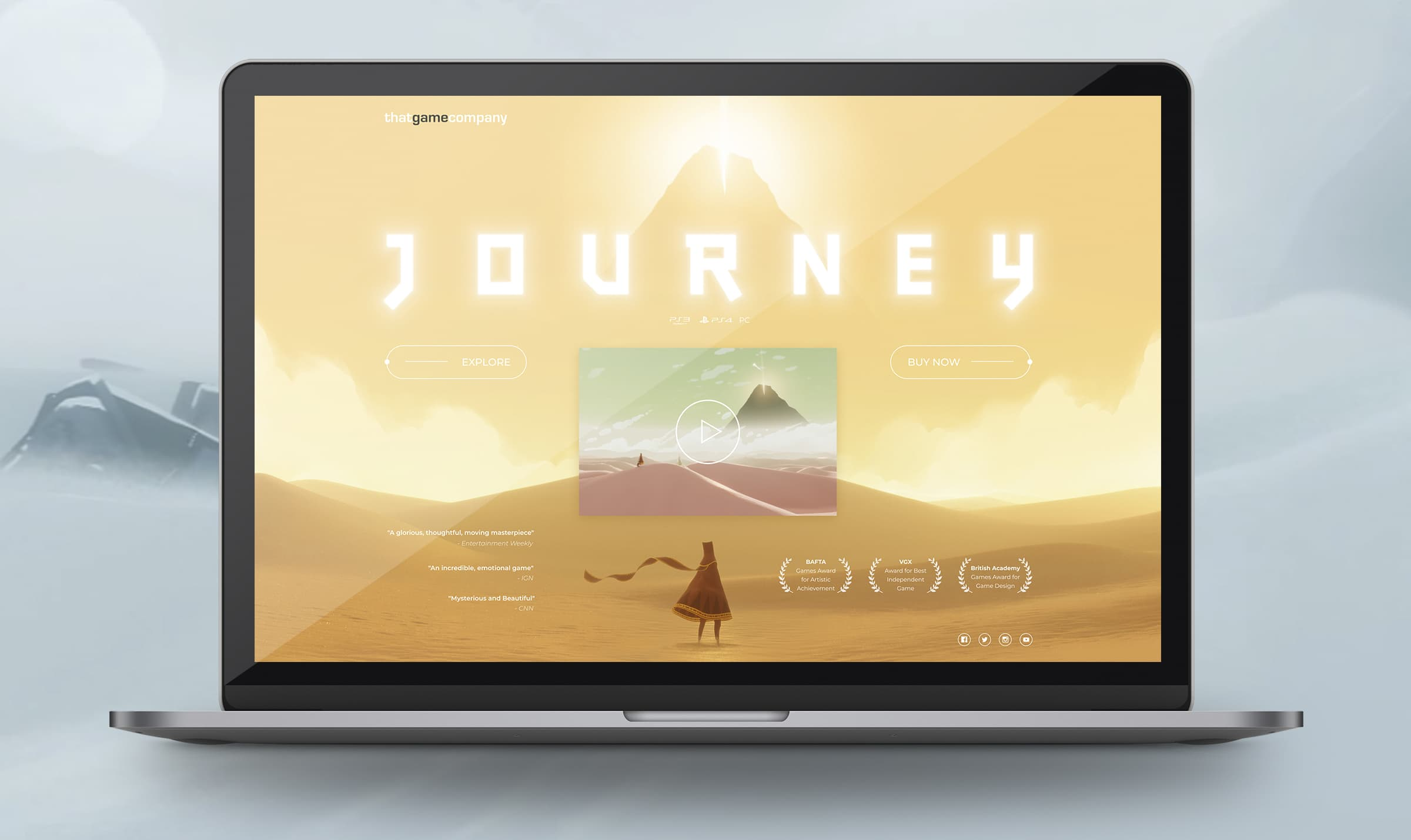 Journey game website landing page from UIGarage