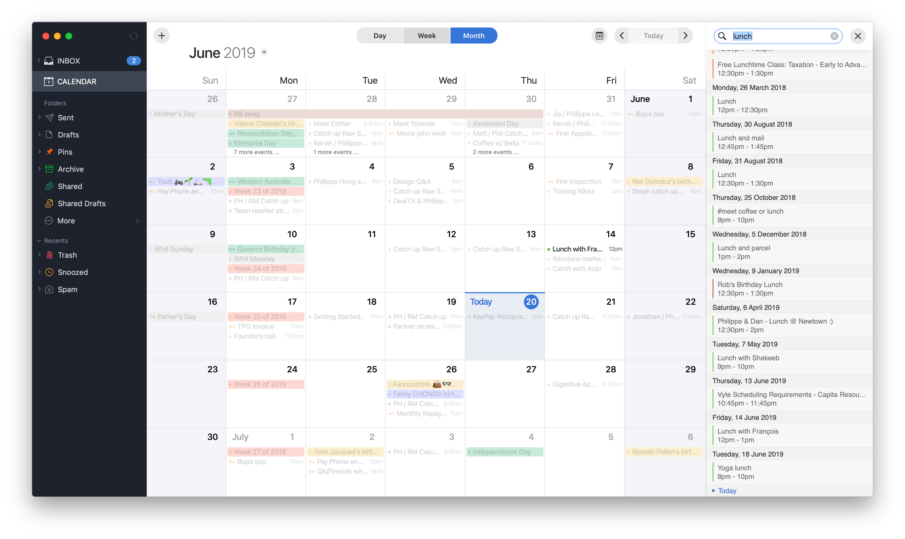 Search on calendar by Spark on macOS from UIGarage