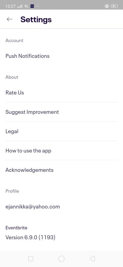 Settings on Android by EventBrite from UIGarage