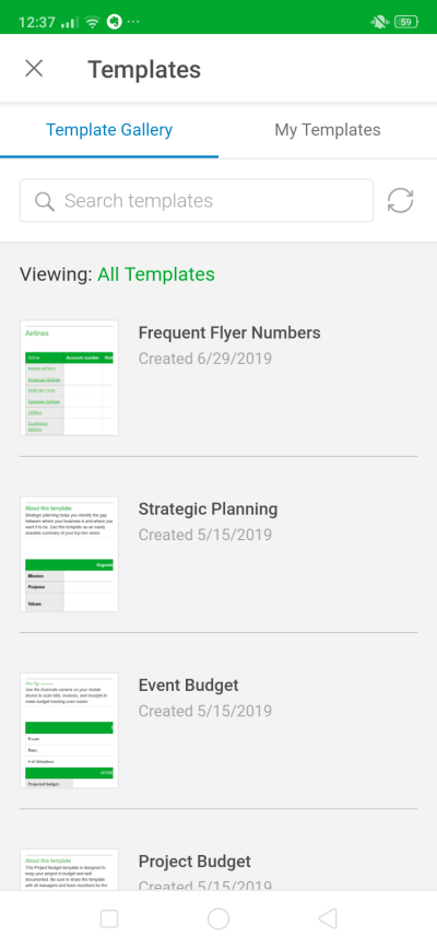 Templates on Android by Evernote from UIGarage