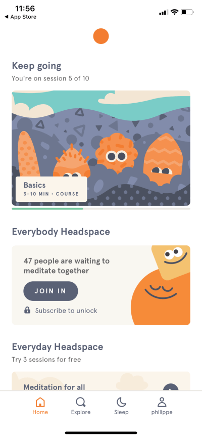 Homepage by Headspace on iOS 2019 from UIGarage