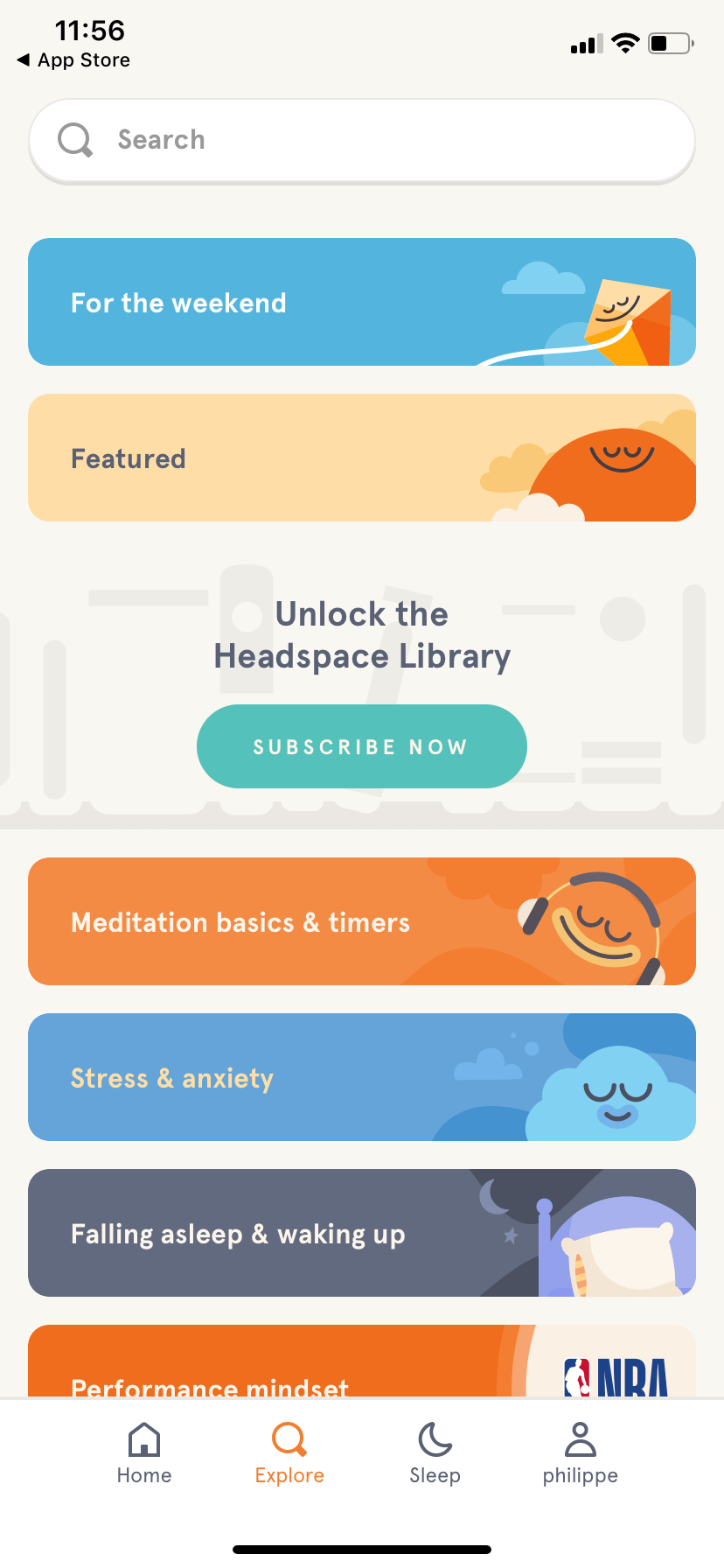 Explore by Headspace on iOS 2019 from UIGarage