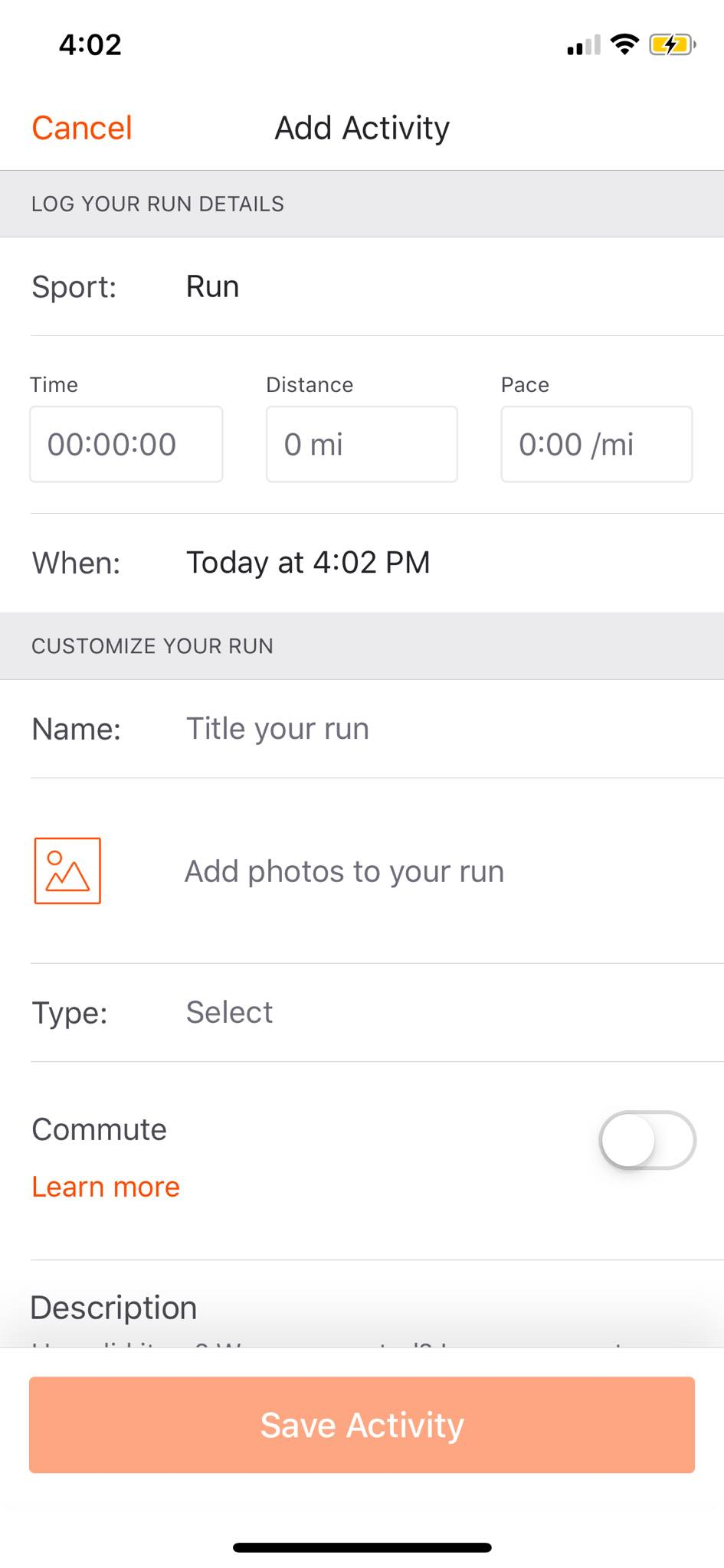 Add Activity on iOS by Strava from UIGarage