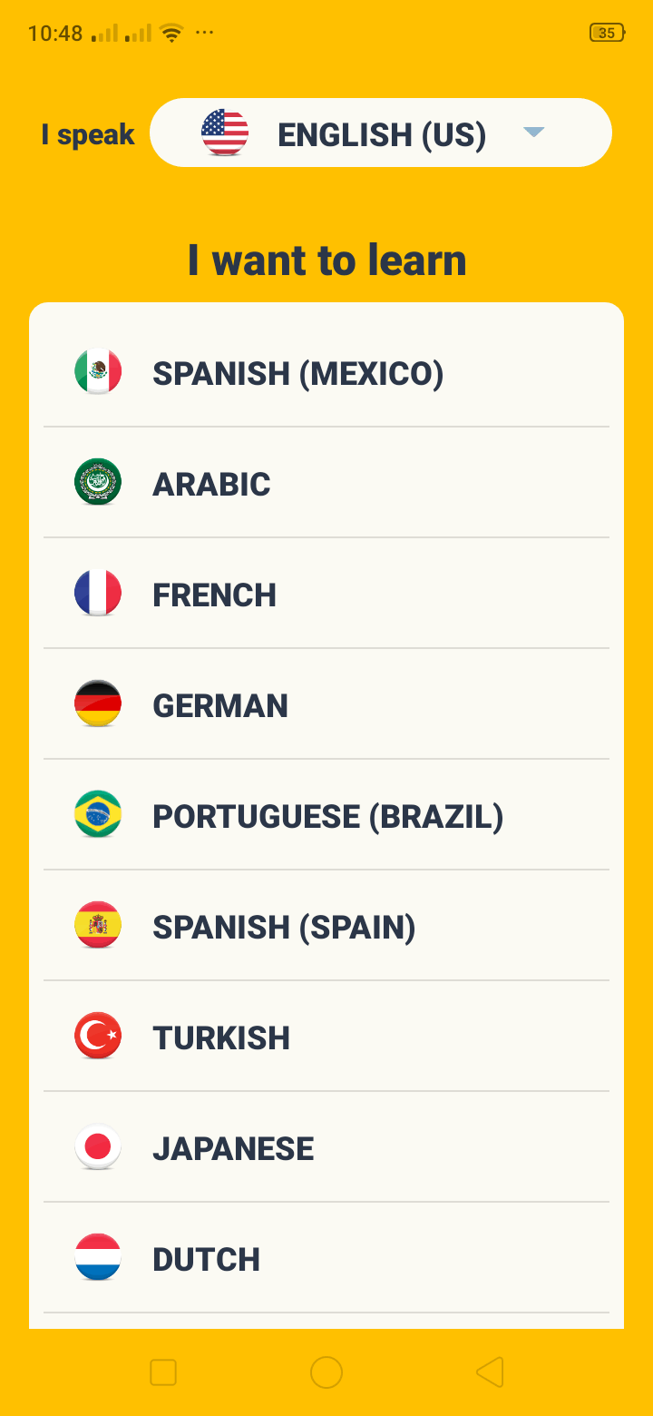 Language Picker on Android by Memrise from UIGarage