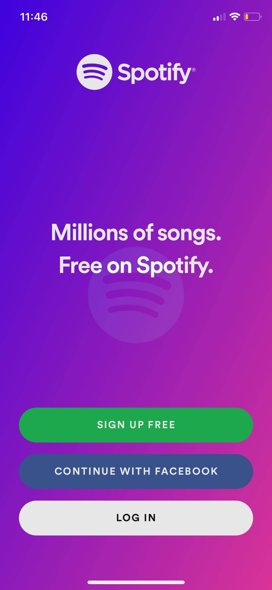 Landing Page on iOS by Spotify from UIGarage