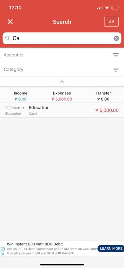 Search on iOS by Money Manager from UIGarage