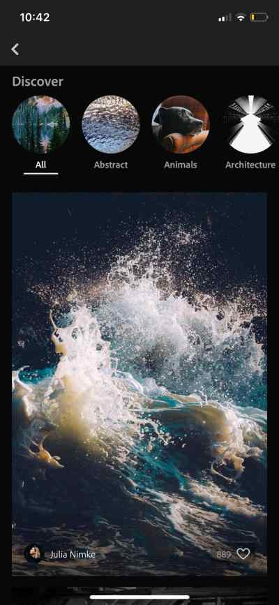 Discover on iOS by Adobe Lightroom from UIGarage