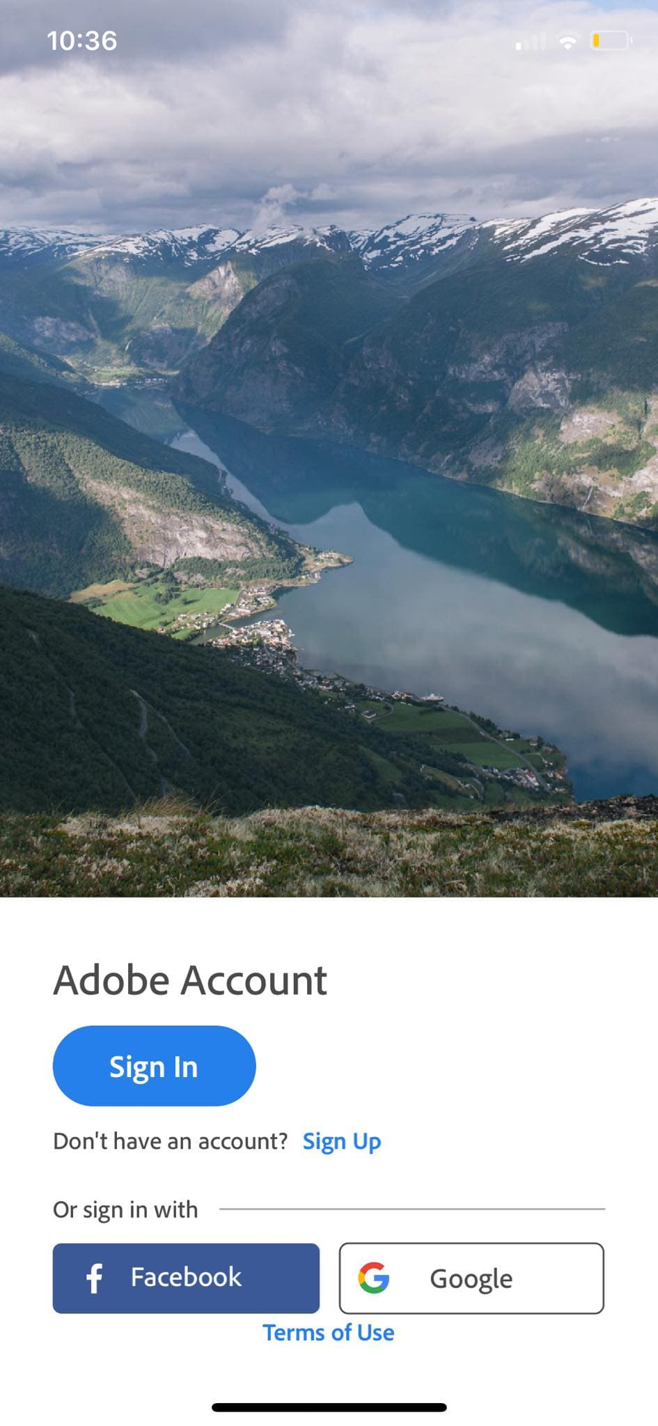 Sign In on iOS by Adobe Lightroom from UIGarage