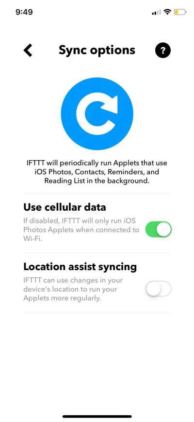 Sync Options on iOS by IFTTT from UIGarage
