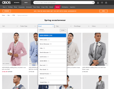 Asos Filter on web from UIGarage
