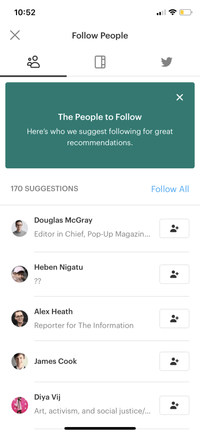 Follow People on iOS by Pocket from UIGarage