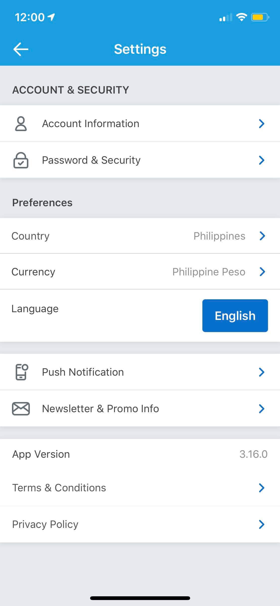 Settings on iOS by Traveloka from UIGarage