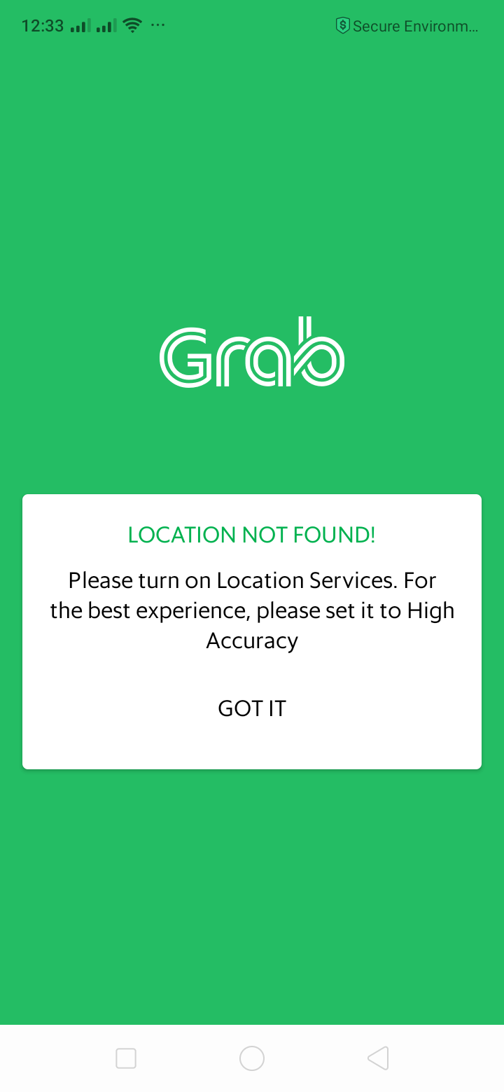 Error on Android by Grab from UIGarage