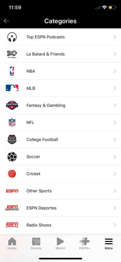Categories on iOS by ESPN from UIGarage